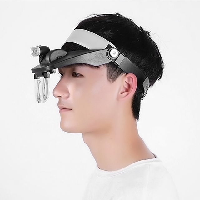 Headband Magnifier Helmet Illuminated Magnifier LED Illuminated Binocular Headlight Loupe Third Hand Magnifying Glass
