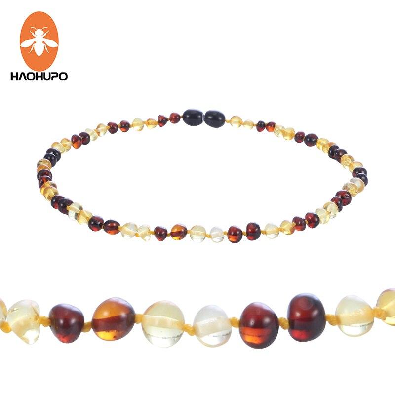 HAOHUPO Новый Дизайн янтарный браслет/Цепочки и ожерелья для маленьких балтийский натуральный янтарь ювелирные изделия для мальчиков и девоче...