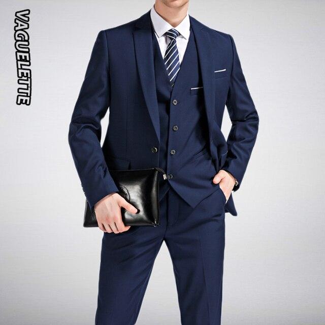 6ce076f09a9dc (Blazer + Pantolon Yelek) 3 parça Erkek Takım Elbise Slim Fit Düğün resmi  giysi Iş Siyah Zarif Kostüm Mariage Homme M 5XL