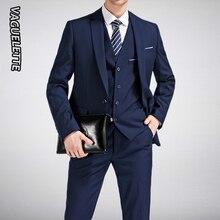 (Blazer+Pants+Vest) Classic Men Suit Slim Royal Blue Wedding Groom Wear Men Suit Black Gentlemen Costume Mariage Homme M-4XL