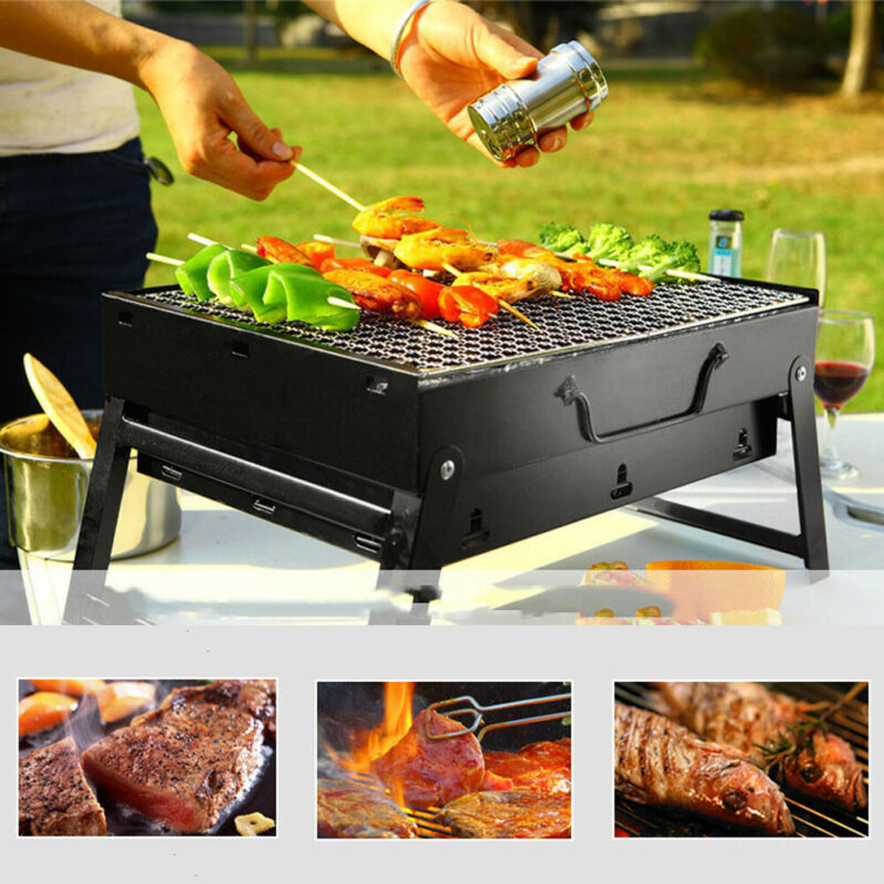 Fold Barbecue Charcoal Grill Portable Outdoor Picnic Cooking Stove Tools Shish Kabob Stainless Steel BBQ Patio Camping