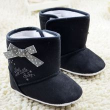 Winter Children Newborn Baby Boots Soft Sole Faux FleeceToddler Girl Warm Crib Snow Boots Discount Kids Bowknot Baby Girl Shoes