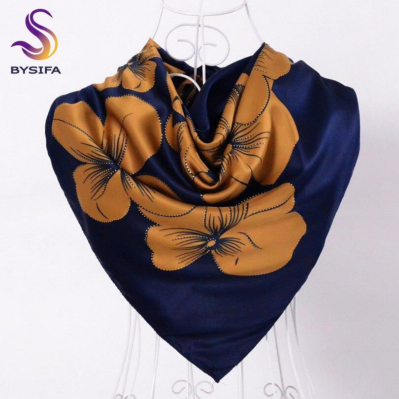 [BYSIFA] Top Grade Satin Square   Scarves     Wraps   Accessories Ladies Navy Blue Silk   Scarf   Shawl 100*100cm Elegant Turkey Head   Scarf