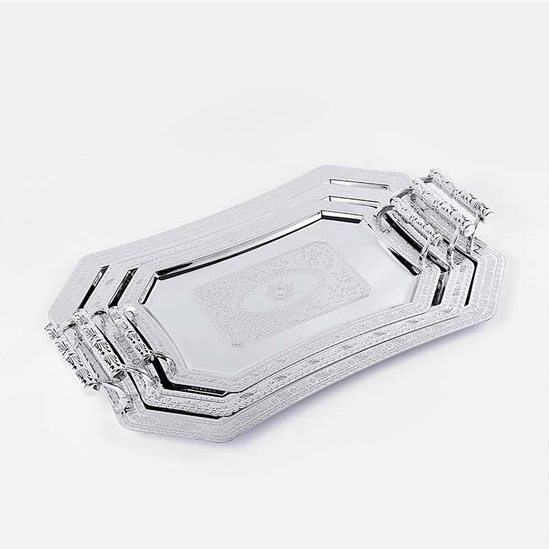 Металлический поднос JINSERTA, тарелка для демонстрации ювелирных изделий, ретро тарелка для десертов, фруктов, тортов с ручкой для декора, поднос для сервировки в отеле, кафе-1