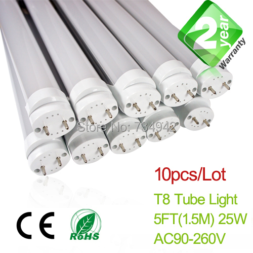 10pcs/Lot 5ft T8 LED Fluorescent Tube Light 1500mm 25W 2350LM CE & RoHs 2 Year Warranty SMD2835 Epistar free shipping 20pcs lot 0 9meters t8 led fluorescent tube light 15w 1350lm ce