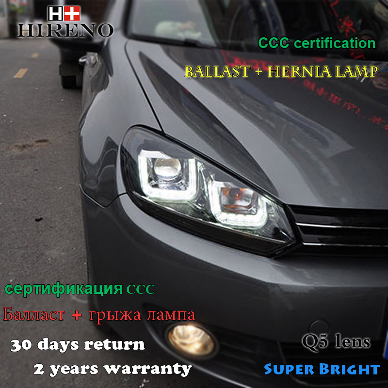 Hireno Car styling Headlamp for 2009-12 Volkswagen Golf 6 Golf6 Headlight Assembly LED DRL Angel Lens Double Beam HID Xenon 2pcs