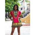Dashiki Vestido 2016 Mulher Impressão Tradicional Africano Dashiki Vestidos Africanos Bazin Riche Roupas T-shirt de Manga Curta Para As Mulheres