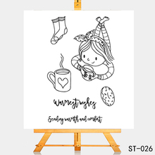 AZSG Lovely Girl Snacks Coffee Clear Stamps/Seals For DIY Scrapbooking/Card Making/Album Decorative Silicone Stamp Craft