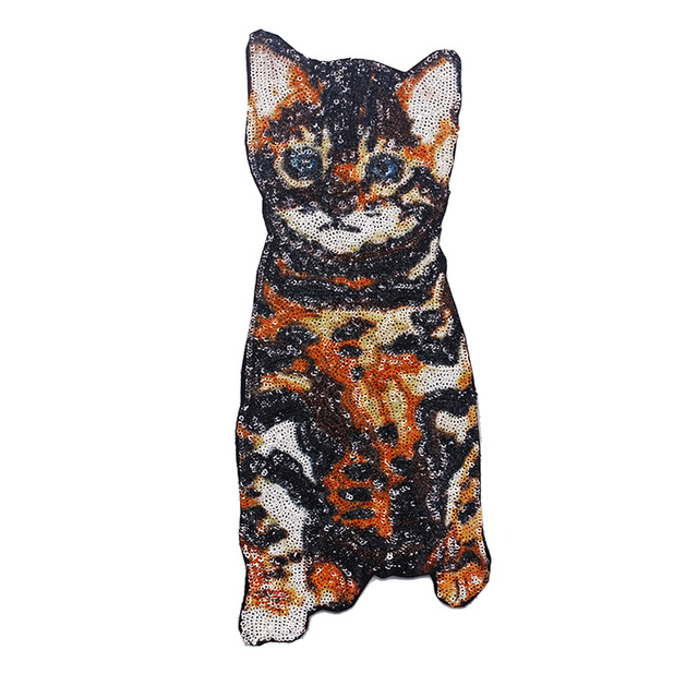 1pieces Beaded Sequin Cat Pattern Design Embroidery Clothes Patches ...