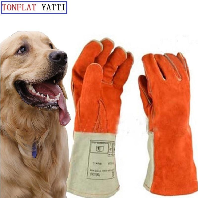 Espesar guantes de cuero anti-mordida entrenamiento táctico de - Seguridad y protección