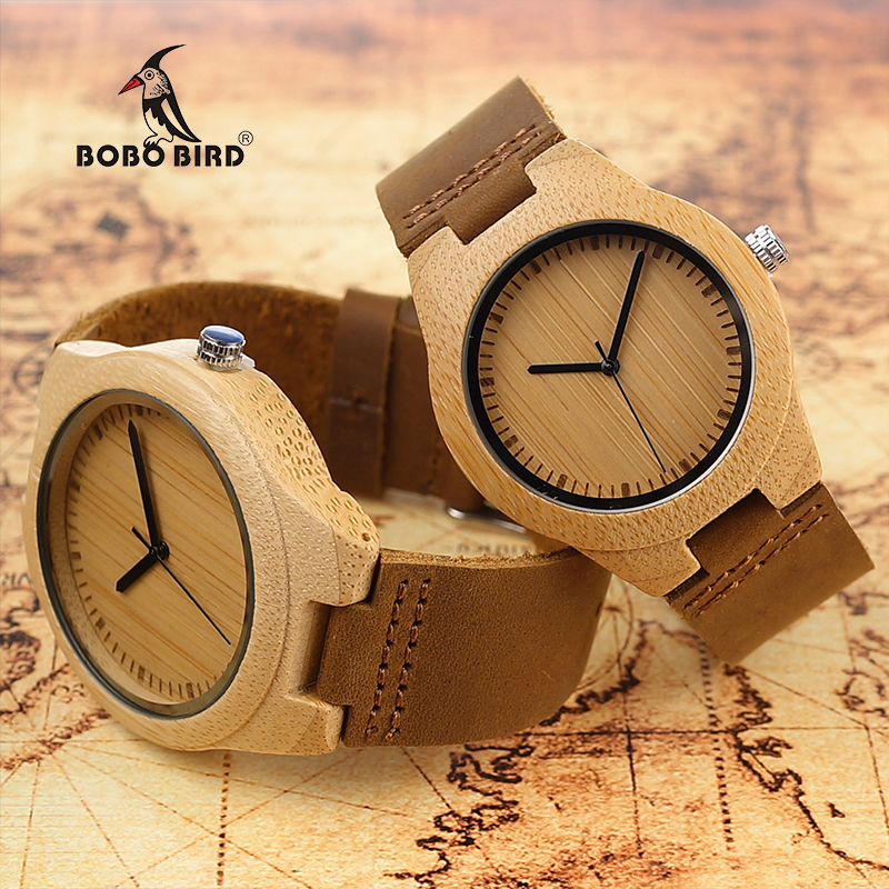 BOBO BIRD Bamboo Case Lovers's Wooden Watch With Genuine Leather Band Round Needles Wristwatches for Male and Female bobo bird brand new sun glasses men square wood oversized zebra wood sunglasses women with wooden box oculos 2017