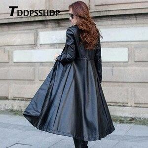 Image 2 - أسود وأحمر اللون طويل الربيع معطف جلد النساء سميكة طويلة الأكمام حزام الخصر جيب سترة الإناث