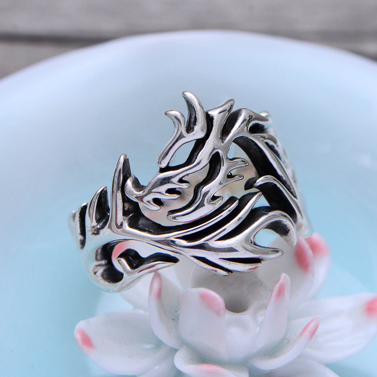 925 Sterling Silver Hollow China Dragon Open Ring Men Retro Thai Silver Jewelry Gift Finger Ring CH036317