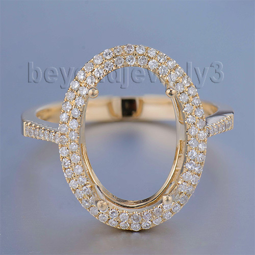 Oval 10x14mm 14K Semi Mount Ring Settings Yellow Gold Woman Wedding R0014