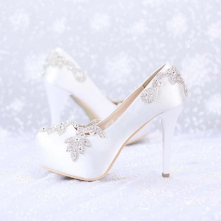 Luxury white diamond wedding shoe thin soled up heel shoes elegant bridal wedding shoes single lady party pumps