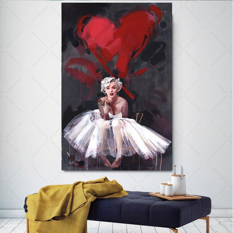 MARILYN MONROE ANGEL IN COLORS PRINT  ON FRAMED CANVAS WALL ART  DECOR