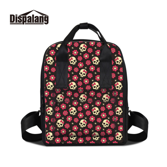 Dispalang Women Backpacks Women s Skull Flower Print School Backpacks  Female Laptop Shoulder Bags Girls Casual Traveling Bag 296d7fd6bb33c