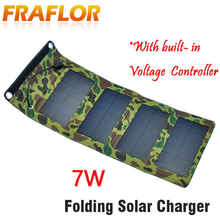 Free Shipping Waterproof 5.5V 7W Portable Folding Foldable Solar Panel Charger Battery, Solar Mobile Phone Cellphone Charger