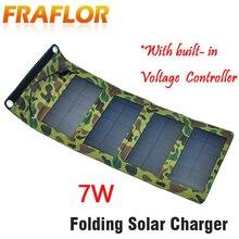 Frete grátis à prova dwaterproof água 5.5v 7w portátil dobrável painel solar carregador de bateria, solar celular carregador