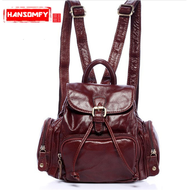 2018 New small Women backpack casual fashion female Genuine leather Shoulder bag luxury ladies backpacks womans backpack black leather genuine mini backpack women 2017 new female small shoulder bags sweet lady backpacks