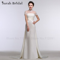 Elegante Perlen Weiße Spitze High Neck Brautkleider Mit Kurzen Ärmeln 2016 neue Satin Zug Brautkleider A-line Lange robe de soiree