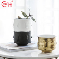 Nordic Handmade Gold Buddha Plant Pot Ceramic Small Succulent Pot Black White Succulent Planter Garden Bathroom Table Decoration