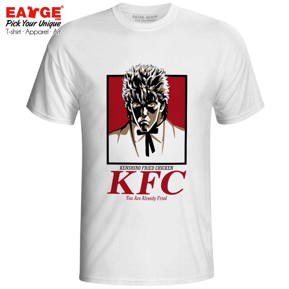 Kenshiro Fried Chicken T Shirt Kuso Anime Fist Of The North Star Hokuto No Ken Parody Brand Logo Novelty T-shirt Men Women Tee