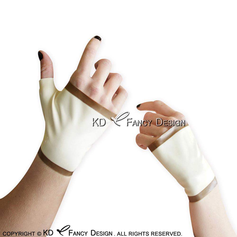 White With Brown Stripe On Top And Bottoms Sexy Fingerless Short Latex Mittens Rubber Gloves ST-0022