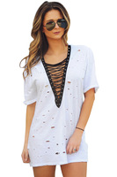 Casual Lace Up V Neck T Shirt Dress Women Summer Short Sleeve With Holes Loose Shirt