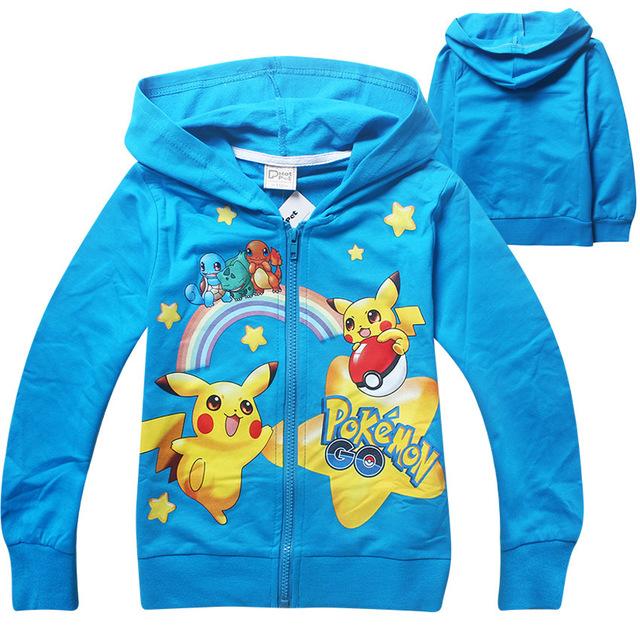 Hot 2016 Niños Del Otoño Outwear Sudaderas Con Capucha Camisetas de Los Niños Para Niños Niños Pokemon Ir Capa de la Historieta Tops Traje