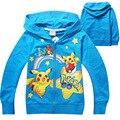 Hot 2016 Outono Meninos Outwear Hoodies Camisolas das Crianças Para Meninos Crianças Pokemon Ir Dos Desenhos Animados Tops Brasão Costume