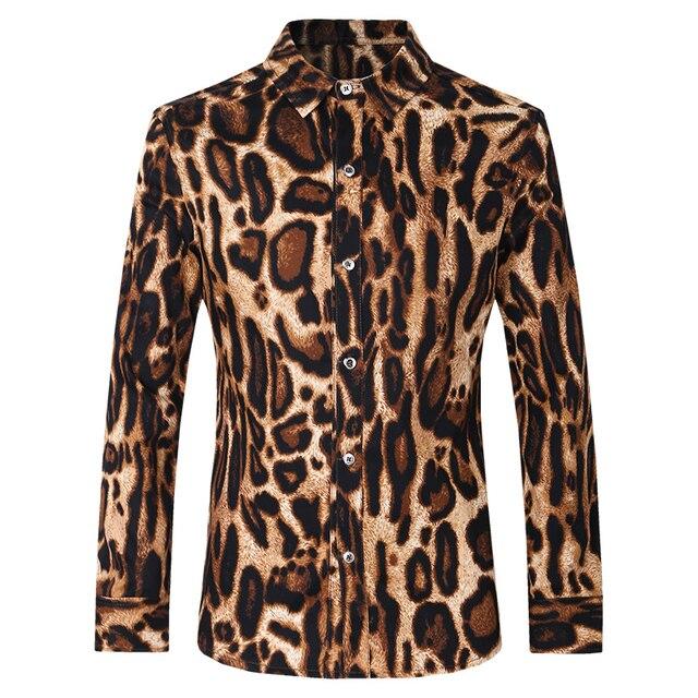Французский Стиль мужские Рубашки С Длинным Рукавом Нагрудные Camisa Masculina Мужчины Смокинг Рубашки Платья Хлопок Бизнес Leopard Партия Рубашка