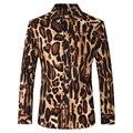 Camisa Masculina French Style Men's Shirts Long Sleeve Lapel Men Tuxedo Dress Shirts Cotton Business Leopard Party Shirt
