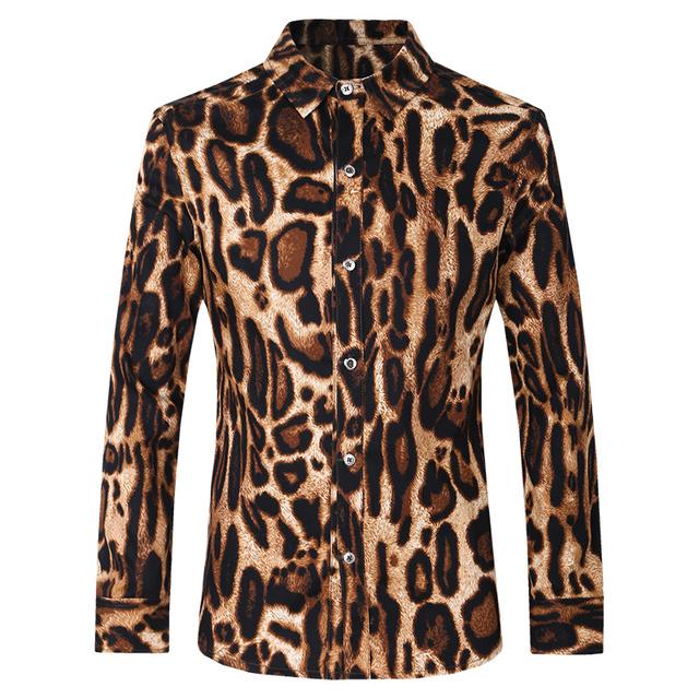 Camisa Masculina de Estilo Francés de Los Hombres Camisas de Manga Larga de la Solapa de Los Hombres de Esmoquin Vestido Camisas del Negocio del Algodón Camisa Del Partido Del Leopardo