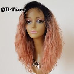QD-Tizer Bob corto sintético peluca con malla frontal s Ombre Rosa cabello suelto rizado peluca con malla frontal para las mujeres con el pelo del bebé
