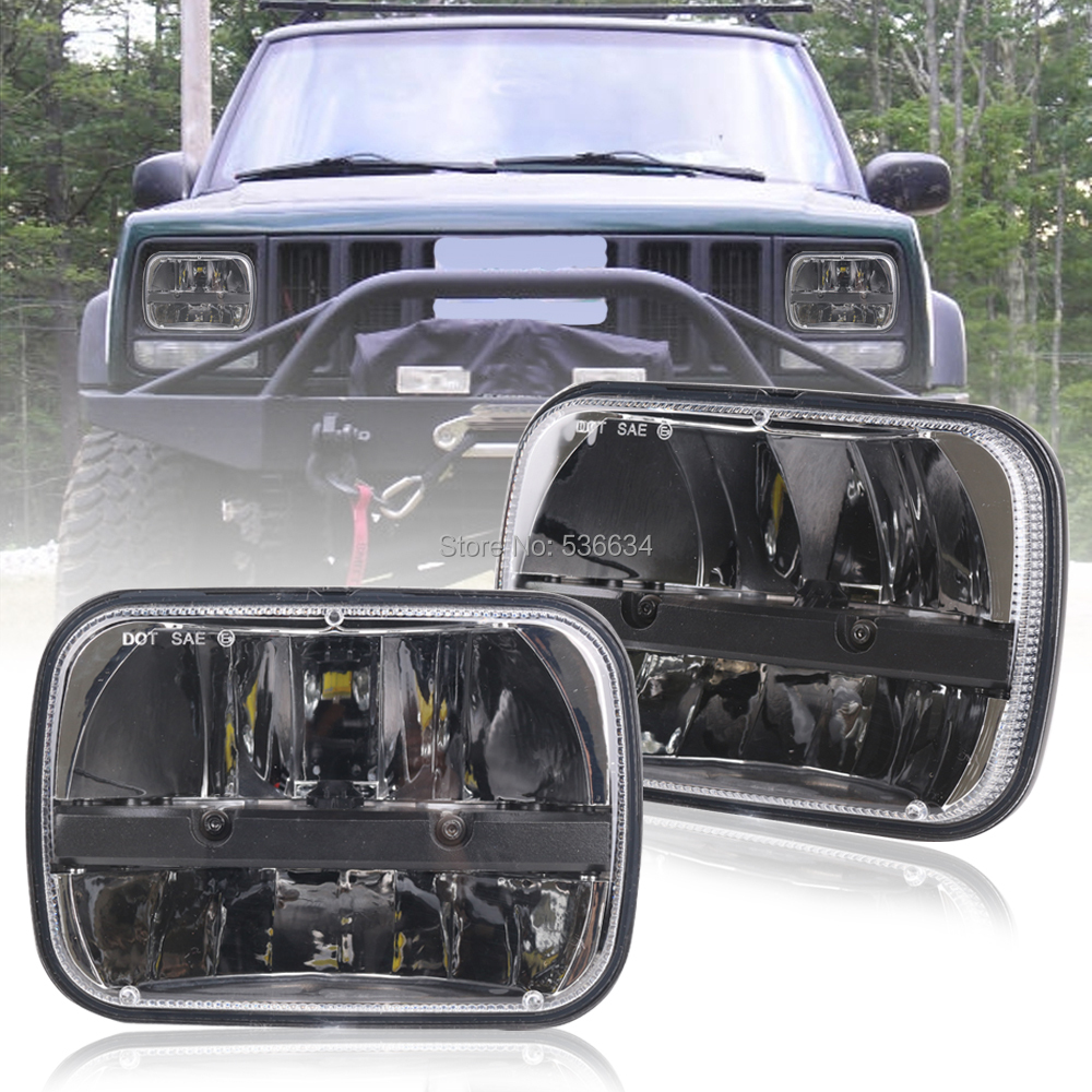 1 Pair 7 inch Rectangular LED Headlight Projector Daymaker Hi/Low Beam With DRL For 1987-1995 Jeep Wrangler YJ 1 pair 7 inch rectangular led headlight