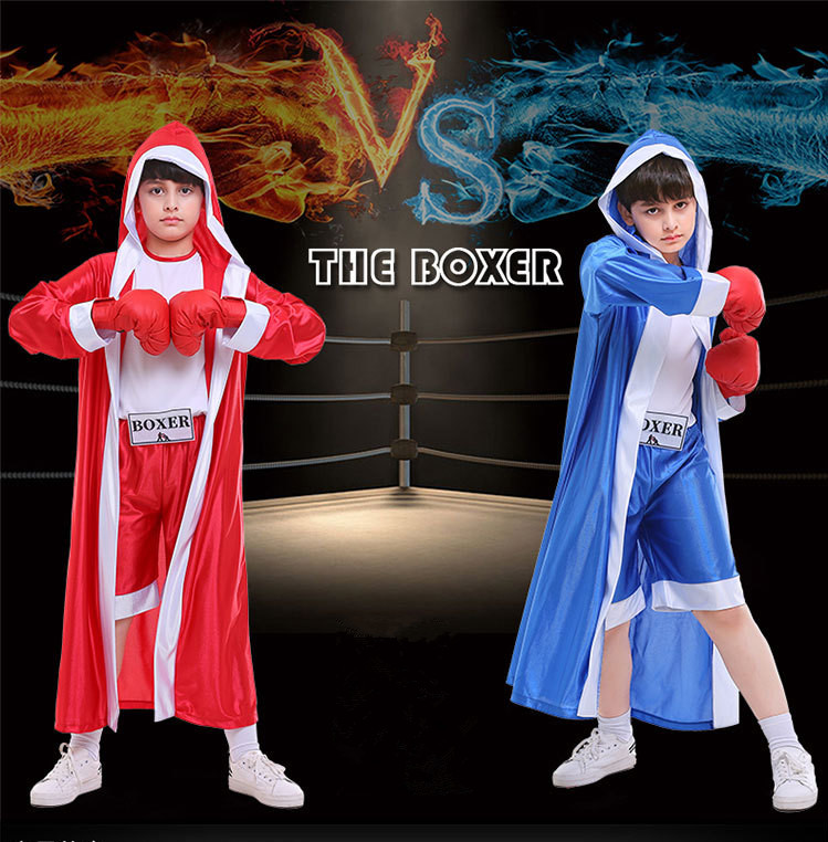 110-150cm Toddlers Kids boxing uniform clothing soft muay thai kick boxing cloak boxing robe+Jumpsuit