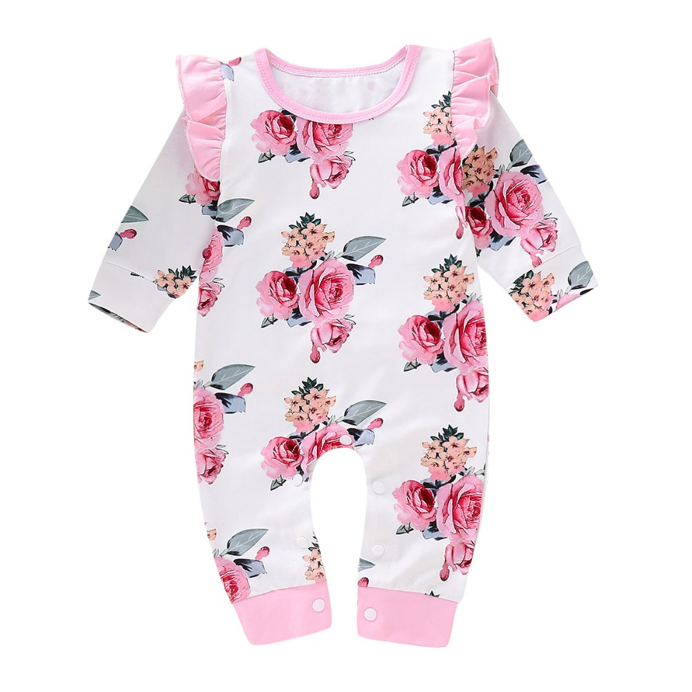 puseky Baby Girls Infant Floral Print Sleeveless Romper Toddler Jumpsuit Outfits