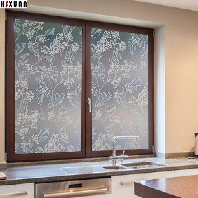 flower fruit tree glass film 60x100cm waterproof glass sticker for kitchen frosted pvc window film hsxuan - Frosted Window Film