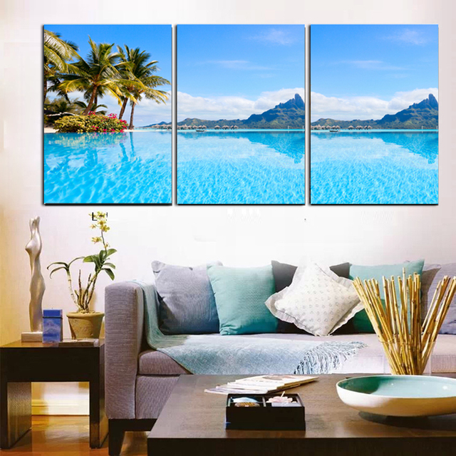 Interesting Buy Modern Decor Wall Pictures Blue Sea Tropical With Living Room Paintings