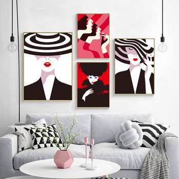 Modern Fashion Lady Picture Home Decor Nordic Canvas Painting Wall Art Print Cartoon Colorful Posters Decor Pating for Bedroom image