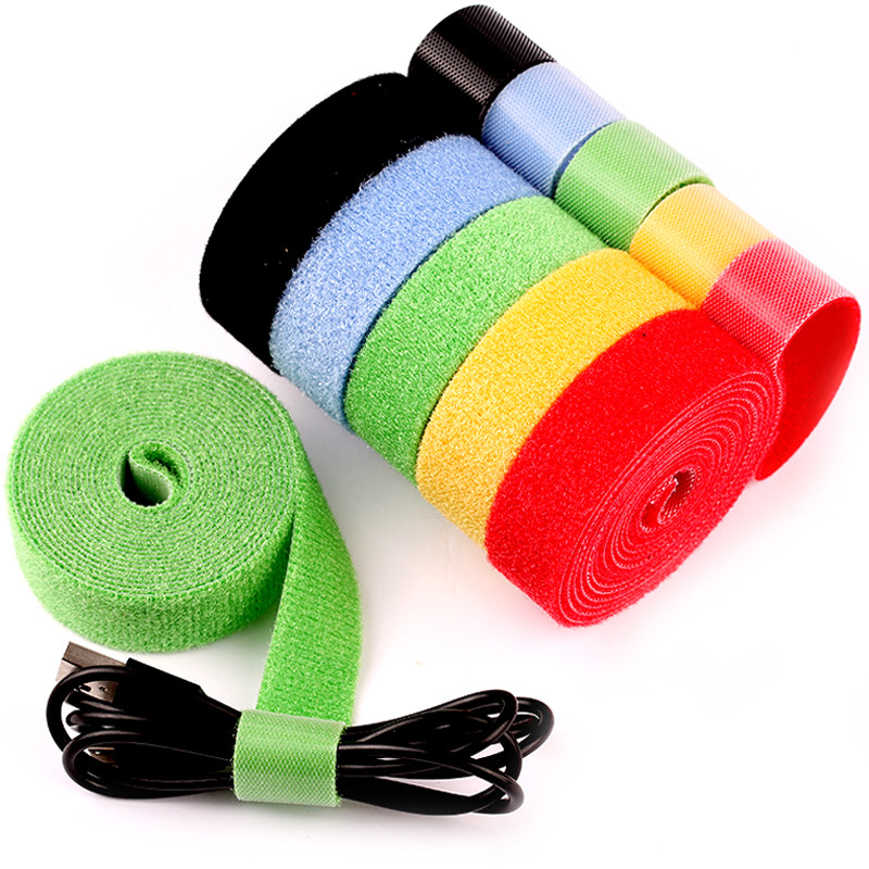 1 Roll 2cm*5m Color magical Glue Self-adhesive Tape Strap hoop loop strap velcros closure tape scratch roll fastening tape(China)
