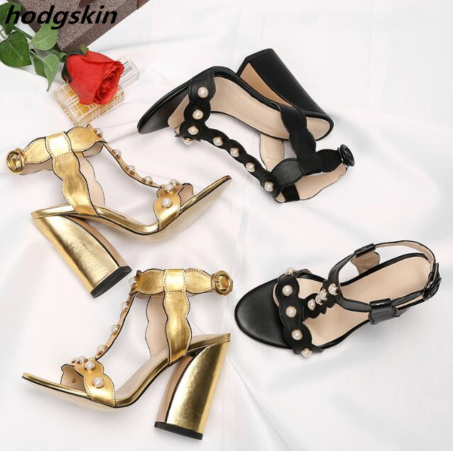 2019 Metallic Gold Black Leather Pearl Studs T-strap Women Sandals Chunky Heels Summer Sandalias Zapatillas Mujer Shoes2019 Metallic Gold Black Leather Pearl Studs T-strap Women Sandals Chunky Heels Summer Sandalias Zapatillas Mujer Shoes
