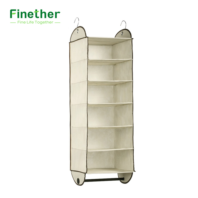 Finether Foldable 6 Shelf Fabric Hanging Closet Organizer Clothes Storage  Rack For Accessory With Garment