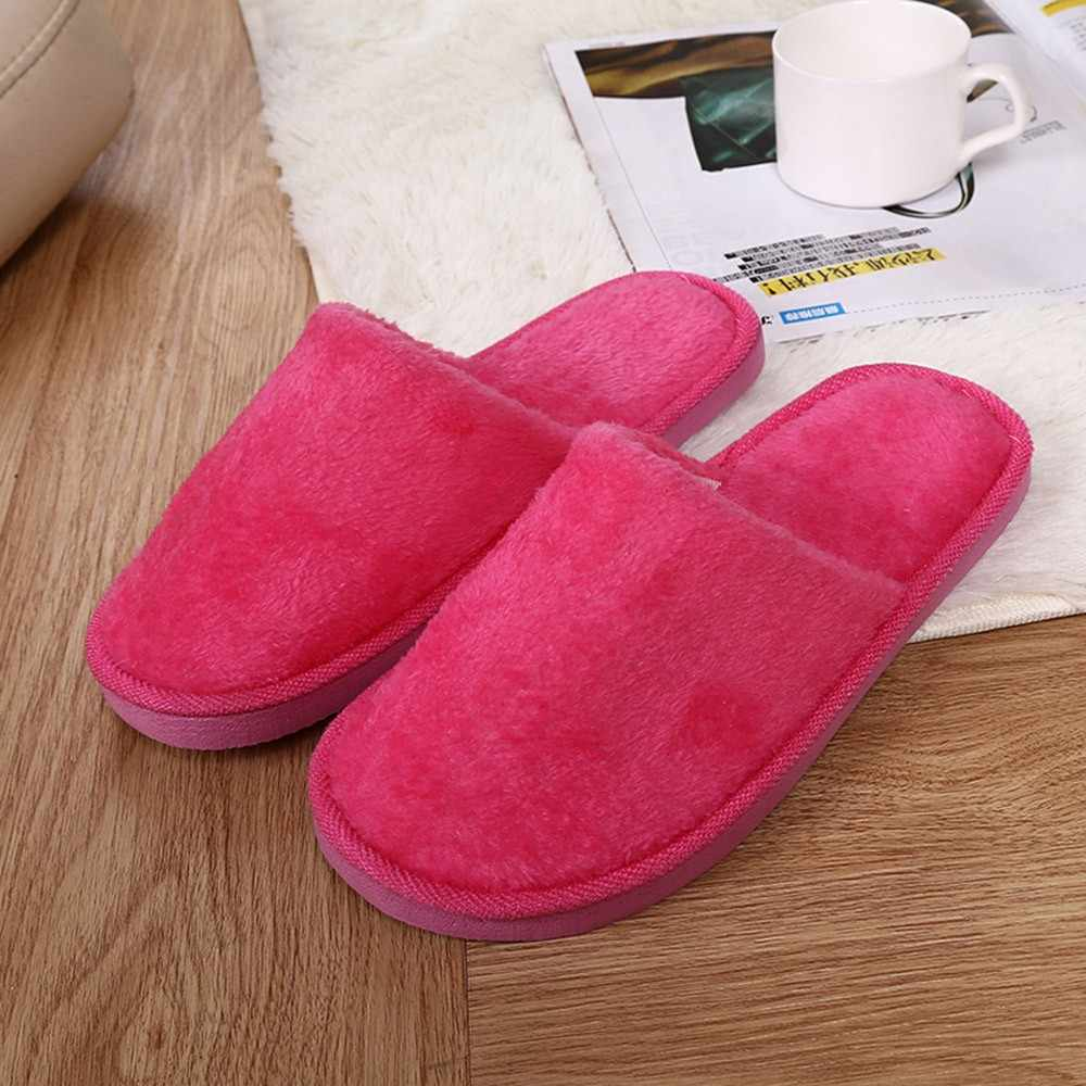 Fashion Women fur slippers Warm Home Plush Soft Flats Slippers Indoors Anti-slip Winter Floor Bedroom shoes woman flip flops