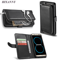 Fashion Lady 2 in 1 Mobile Phone Zipper Wallet Pouch For Samsung Galaxy S8 Plus Case Purse Detachable Luxury Woman Leather Case