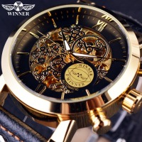 Winner Luxury Golden Case Fashion Clouds Hollow Skeleton Genuine Leather Strap Clock Mens Watch Top Brand