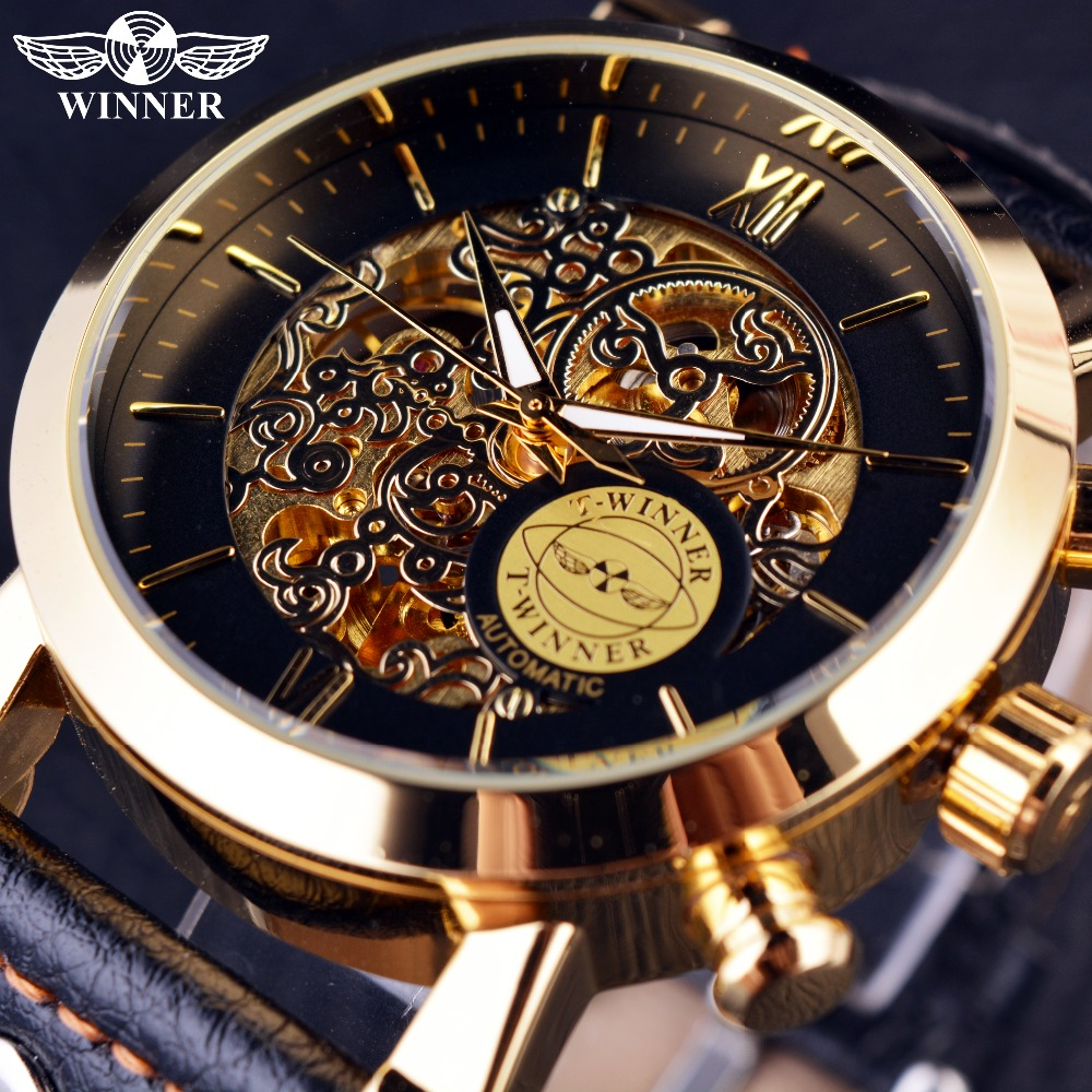 Winner Luxury Golden Case Fashion Clouds Hollow Skeleton Genuine Leather Strap Clock Mens Watch Top Brand Luxury Automatic Watch trendy sports armband for iphone 5 black