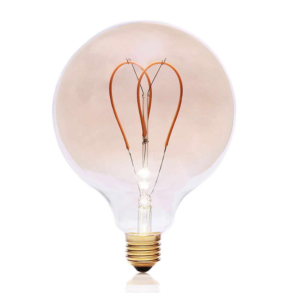 G125 Vintage LED Edison Bulb AC220V 4W Dimmable Spiral Heart Filaments Light Bulb Warmer Yellow Light Retro Flexible LED Bulb a130 big edison led bulb e27 spiral