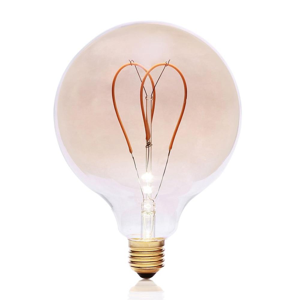 G125 Vintage LED Edison Bulb AC220V 4W Dimmable Spiral Heart Filaments Light Bulb Warmer Yellow Light Retro Flexible LED Bulb